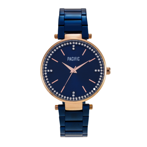 damski zegarek X6009 z kolekcji pacific fashion na granatowej bransolecie z granatową tarczą