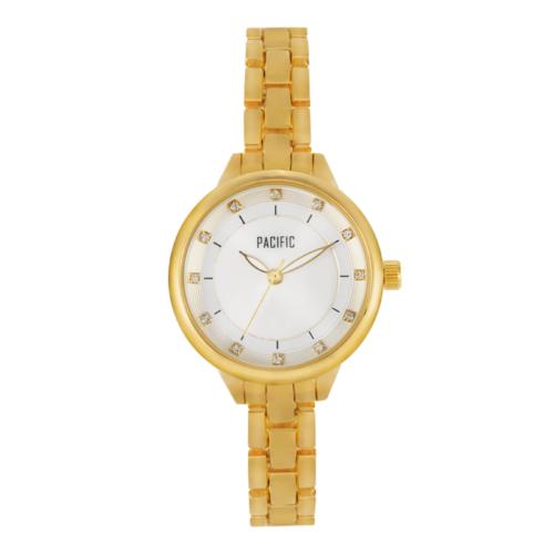 Damski zegarek A6025 z kolekcji pacific fashion na złotej bransolecie z białą tarczą